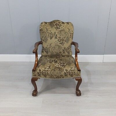 Victorian Mahogany Upholstered Armchair With Claw And Ball Feet (233)