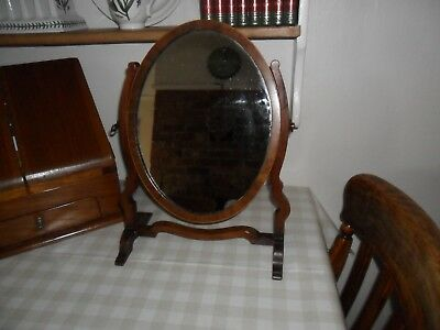Antique Dark Wood Edwardian Swivel Vanity / Dressing Mirror