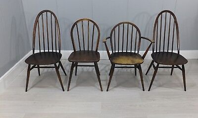 Collection Of Four Vintage 1960'S Ercol Dark Elm Chairs (234)