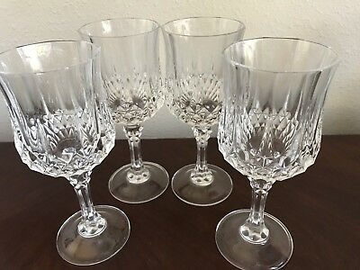 6 Wine Glasses CRISTAL D'ARQUES FRANCE Crystal Red Wine Longchamp