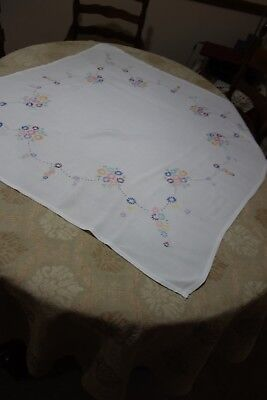 "Vintage hand-embroidered white with floral 40"" x 42""  tablecloth"