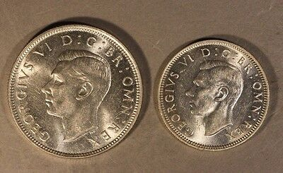 1944 Great Britain Shilling & Florin Silver Coins    ** FREE U.S SHIPPING **