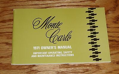 1971 Chevrolet Monte Carlo Owners Operators Manual 71 Chevy