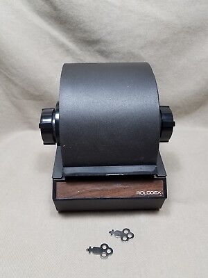 Vintage Metal Rolodex Locking File Retractable Cover 2254D With 2 Keys