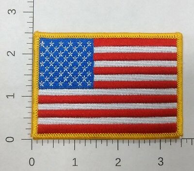 """3.5"""" x 2.5"""" USA US American Flag Gold Border Embroidered Iron-On Patch"""