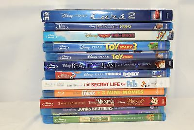 Lot of 12 Children Blu Ray DVD Disc Movies, Cars 2, Beauty and The Beast, Dory.