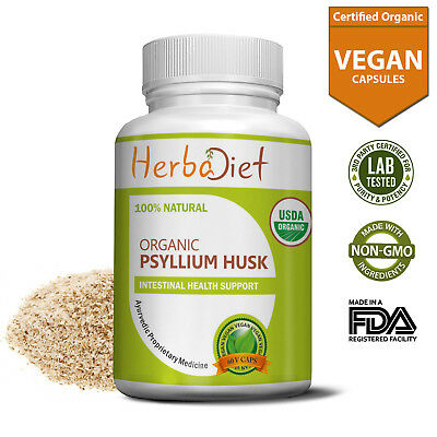 Organic Psyllium Husk Veg Capsules Natural Fiber Husks Digestive Aid Supplement