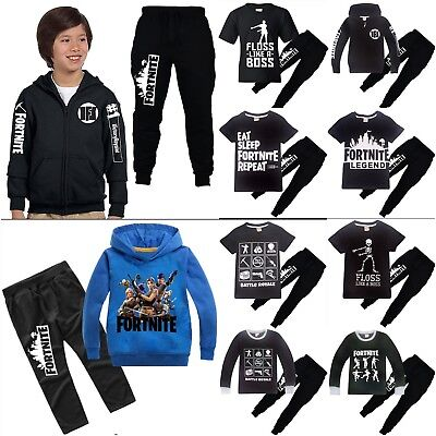 Fortnite Kinder Jungen Traininganzug Kapuzenpullover Mantel T-shirt + Hose Set