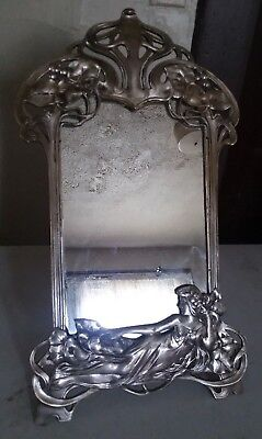 WMF Framed Mirror Woman in Flowing Gown in Relief
