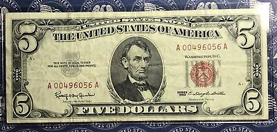 1963 $5 Dollar Bill Old Us Paper Money Currency Red Seal Collector Note.6056A