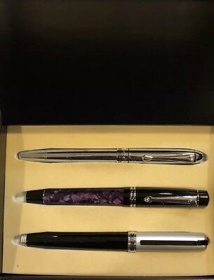 Beautiful Montefiore Pen Set Includes 3 Pens And Display Case