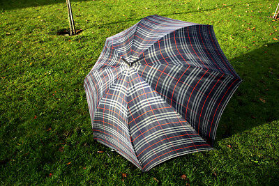 Genuine Vintage Burberry's Blue Check Golf Umbrella Great Condition