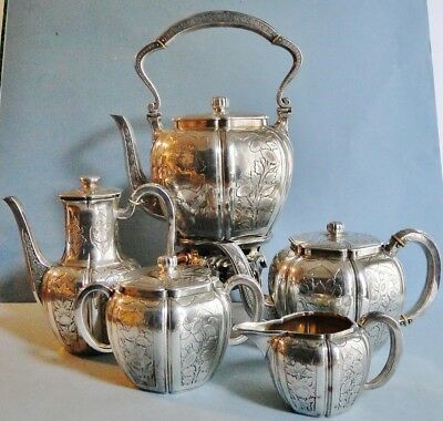 Lg Exquisite Odiot 950 Silver Tea & Coffee Set + Kettle Japanese Blossoms 1860