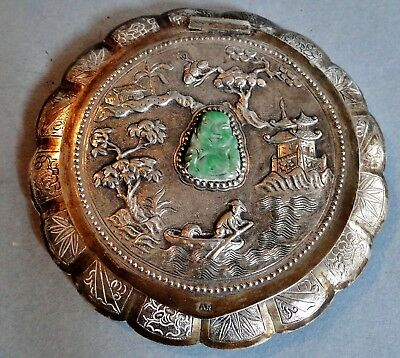 Antique Rare Quality Chinese Export Silver Jade Inset Signd Compact Figural 1900