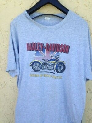 1980's Harley Davidson Riders Of Great Britain  Motorcycle T Shirt  Sz. L