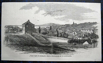 AUCKLAND CITY Neuseeland NEW ZEALAND. Originaler Holzstich 1860