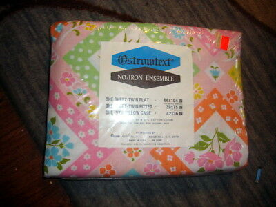 NEW SEALED PKG Vintage Ostrotext Cotton Sheet twin Flat Fitted cases Entire Set