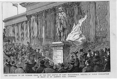 1883 Antique Print - LIVERPOOL Statue Lord Beaconsfield St George's Hall (119)