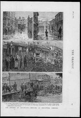1879 Antique Print - CHESHIRE NORTHWICH SALT MINING SUBSIDENCE FLOODING (012)