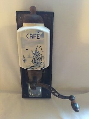 Vintage French Kitchen / Cafe Wall Mounted Manual Coffee Grinder Delft Blue