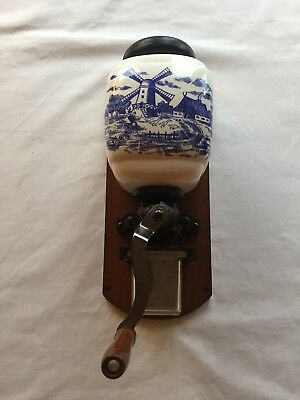 Vintage Kitchen / Cafe Wall Mounted Manual Coffee Grinder Delft Blue Windmill