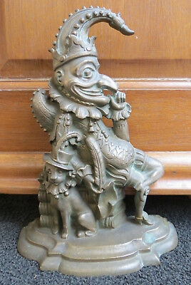 """Quality Antique early Victorian 1849 English Brass Mr Punch door stop 12"""" tall"""