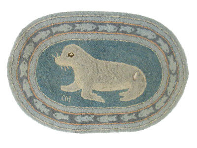 """Vintage McAdoo Hand Dyed and Hand Hooked Oval Rug, Seal w/Fish Border 38""""x26"""""""