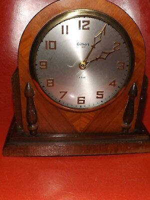 Antique 1807 Gilbert Wind-Up Wood Cased 8 Day Beehive Mantle Shelf Clock Works