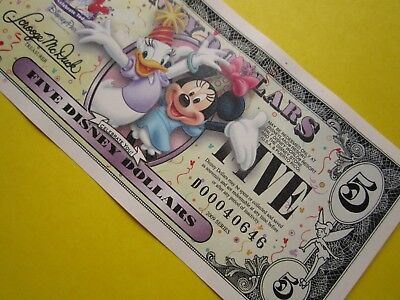 ZIPPY'S MINT Disney Dollars 2009 * D00040646 * Minnie Mouse & Daisy Duck $5