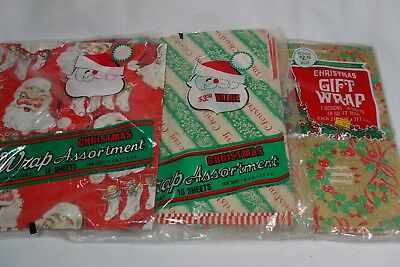 Vintage Christmas Gift Wrap Paper ~ 3 Assorted Packs ~ SEE ALL PHOTOS