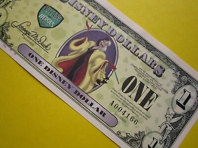 ZIPPY'S MINT Disney Dollars 2013 * RARE * A004166 ** CRUELLA $1 ** low 4 digit #