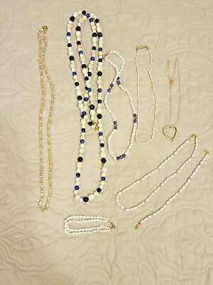 Vintage & New 8 pc Pearl Lot Gold Pink Blue Purple Seed Pearl Liz  LuCoral GoldF