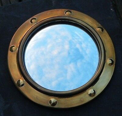 VINTAGE 1950s SMALL BRASS PORTHOLE CONVEX WALL MIRROR~WOODEN BACK~HANGING CHAIN