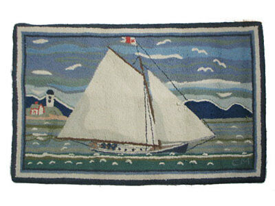 """Vintage McAdoo Hand Dyed and Hand Hooked Oval Rug, Sailboat 54""""x36"""""""