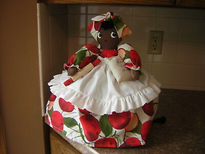 ~~TOASTER COVER DOLL~~For a 2 slice toaster~~Black Americana Mammy~~APPLES~