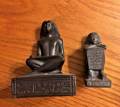 Lot Of 2 Ancient Egyptian Reproduction Seated Scribes Statues