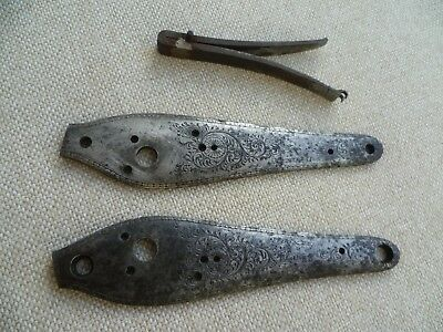 Pair of percussion side plates by Dickie + a mainspring, Flintlock