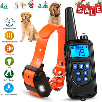 2600 FT Dog Training Shock Collar Pet Trainer Waterproof Rechargeable LCD Remote