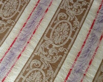 Antique/vintage French floral damask ticking with purple RARE rustic shabby chic