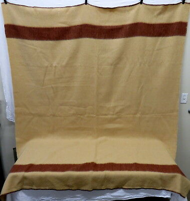 Fergus Falls Woolen Mills Co Beige & Brown Stripe Wool Blanket 7.5' x 6.5'