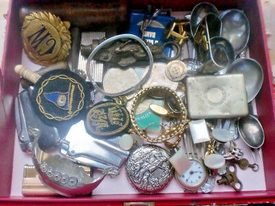 Job Mixed Lot Vintage House Clearance Box Crowns Watches Cufflinks Brass Silver