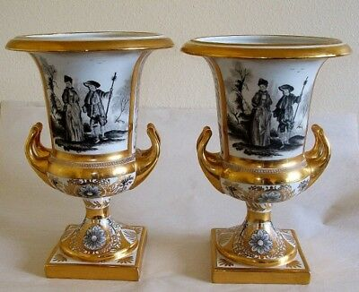 Pair signed Sevres Style Old Paris Porcelain Urns with Grisaille Watteau Scenes