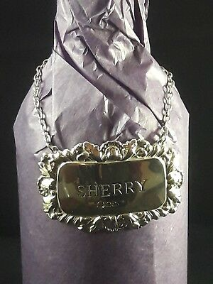 SOLID SILVER Decanter label SHERRY Hallmarked Sheffield Silver Fantastic🎅GIFT🎅