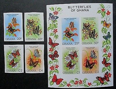 Ghana 1982 Butterflies Set & MS IMPERF. MNH.