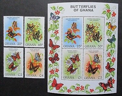 Ghana 1982 Butterflies Set & Mini Sheet. MNH.