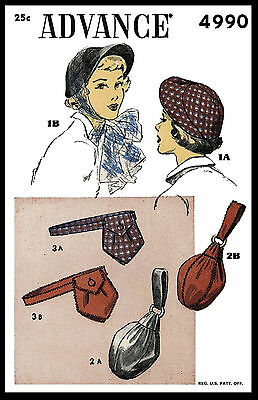 Hats BAGS PURSE Fabric Sewing Pattern 1940s Millinery ADVANCE #4990 Fascinator