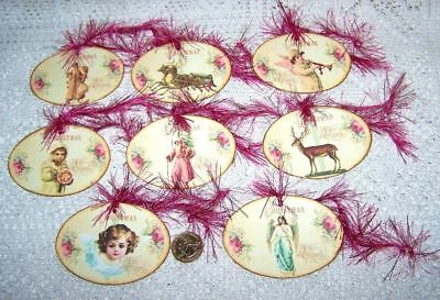 Christmas~Primitive~Vintage~Shabby Chic~Oval~Linen Cardstock~Gift~Hang~Tags