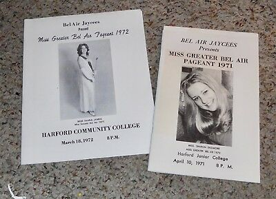 Miss Greater Bel Air Pageant Program ~ 1971 & 1972. Bel Air Maryland