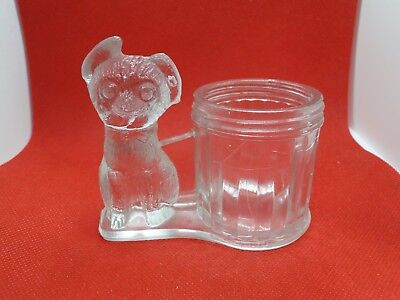 Antique Glass Candy Container Dog with floppy ear L E Smith Co