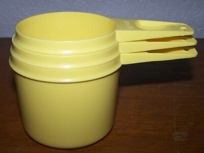 Vintage Tupperware Measuring Cup Set of 3 Yellow Good Condition 761, 762, 763